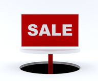 Sale sign on white stand. Sale sign in red on a white stand Stock Photos