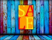 Sale Sign on Wood Background Stock Photography