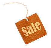 Sale sign wooden tag isolated Stock Image