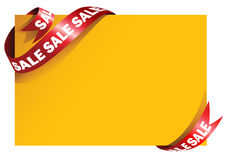 Sale signage. Yellow card with stylish red ribbon Royalty Free Stock Photos
