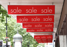 Sale signs. As sales start at the shops stock photography
