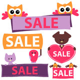 Sale signs with cute animals Royalty Free Stock Image