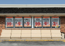 Sale signs at grocery store Royalty Free Stock Photo