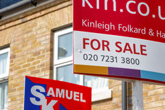 For Sale signs outside a English townhouse Stock Image