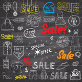 Sale signs and price discount tags, shopping associated symbols. Hand-Drawn set of design elements with hand written Lettering.  V Stock Photos