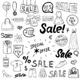 Sale signs and price discount tags, shopping associated symbols. Hand-Drawn set of design elements with hand written Lettering. Ve Royalty Free Stock Photos
