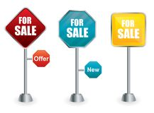 For sale signs on signposts Stock Photos