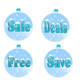 Sale signs. With snow on a blue background Royalty Free Stock Photography