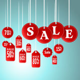 Sale signs and tag hanging in store for promotion & shopping Stock Image