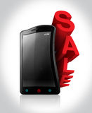 Sale On Smartphone Royalty Free Stock Photos