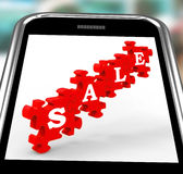 Sale On Smartphone Shows Price Reductions And Royalty Free Stock Photography
