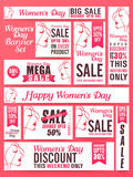 Sale Social Media Banner set for Women's Day. Royalty Free Stock Photo