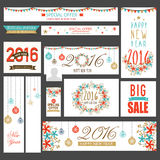 Sale social media headers for New Year and Christmas. Stock Image