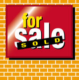For sale sold. A for sale sold sign on a brick wall vector illustration