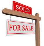 For sale and sold sign. Real estate type for sale and sold sign isolated on white stock photos