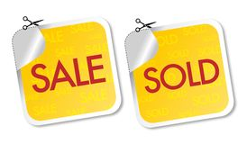 Sale and sold stickers Royalty Free Stock Images