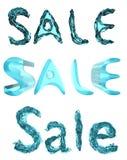 SALE som är skriftlig i tre stilar som göras av blått exponeringsglas/flytande 3d framför Royaltyfri Bild