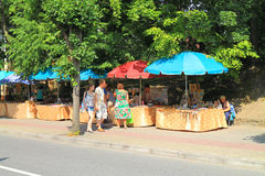 Sale of souvenirs from amber on the street in the city of Svetlogorsk Royalty Free Stock Image