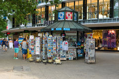 Sale of souvenirs on Kurfuerstendamm. BERLIN - JULY 24: Sale of souvenirs on Kurfuerstendamm. Kurfuerstendamm - famous shopping street in West Berlin. July 24 Royalty Free Stock Photography