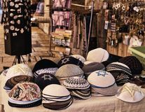 Sale of souvenirs in the old town royalty free stock photography