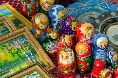 Sale of souvenirs on Shrovetide festivities Royalty Free Stock Photo