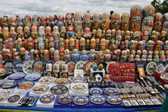 Sale  souvenirs on the Sparrow Hills in Moscow Royalty Free Stock Photo