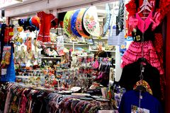 Sale of souvenirs typical of Spain royalty free stock images