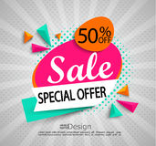 Sale - special offer - bright modern banner. Sale - special offer - bright modern banner with halftone background. Sale and discounts. Vector illustration Stock Image