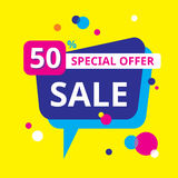 Sale 50% special offer - concept banner vector illustration. Speech bubble. Abstract advertising promotion layout. Graphic design. Element Royalty Free Stock Images