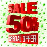 Sale special offer 3d advetising block. Green decorative background royalty free illustration