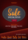 Sale Special Offer flyer or banner with denim background.   Stock Photos
