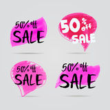 Sale special offer 50 off sign over art brush acrylic stroke paint abstract texture background  illustration. Royalty Free Stock Image