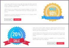 Sale Special Offer Round Labels on Web Posters Set. Premium promotion sale round label set of web posters with push buttons, advertisement online pages with text royalty free illustration
