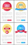 Sale Special Offer Round Labels on Web Posters Set. Sale special offer round labels on online pages, set of promo posters with teat sample and round emblems vector illustration