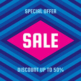 Sale special offer - vector concept banner illustration. Discount up to 50%. Abstract advertising promotion geometric layout.  Royalty Free Illustration