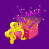 Sale and special offer.Vector illustration. Open gift box with bow and ribbons. Sale and special offer.Vector illustration Stock Image