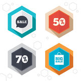 Sale speech bubble icon. Big sale shopping bag. Hexagon buttons. Sale speech bubble icon. 50% and 70% percent discount symbols. Big sale shopping bag sign Stock Photography