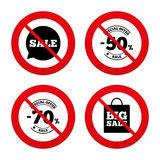 Sale speech bubble icon. Big sale shopping bag. No, Ban or Stop signs. Sale speech bubble icon. 50% and 70% percent discount symbols. Big sale shopping bag sign stock illustration