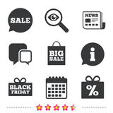 Sale speech bubble icon. Black friday symbol. Stock Images