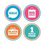 Sale speech bubble icon. Black friday symbol. Royalty Free Stock Images