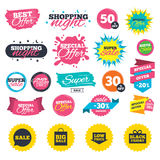 Sale speech bubble icon. Black friday symbol. Sale shopping banners. Sale speech bubble icon. Black friday gift box symbol. Big sale shopping bag. Low price Stock Image