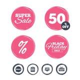 Sale speech bubble icon. Black friday symbol. Super sale and black friday stickers. Sale speech bubble icon. Black friday gift box symbol. Big sale shopping bag Stock Photo