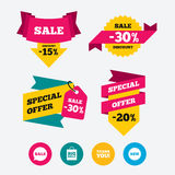 Sale speech bubble icon. Thank you symbol. Stock Images