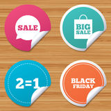 Sale speech bubble icons. Black friday symbol. Round stickers or website banners. Sale speech bubble icons. Two equals one. Black friday sign. Big sale shopping Royalty Free Stock Photo