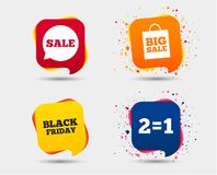 Sale speech bubble icons. Black friday symbol. Sale speech bubble icons. Two equals one. Black friday sign. Big sale shopping bag symbol. Speech bubbles or chat Royalty Free Stock Image