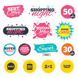 Sale speech bubble icons. Black friday symbol. Sale shopping banners. Special offer splash. Sale speech bubble icons. Two equals one. Black friday sign. Big Royalty Free Stock Photography