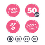 Sale speech bubble icons. Black friday symbol. Super sale and black friday stickers. Sale speech bubble icons. Two equals one. Black friday sign. Big sale Stock Photography