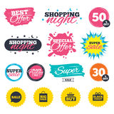 Sale speech bubble icons. Buy cart symbol. Royalty Free Stock Images
