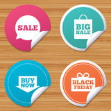 Sale speech bubble icons. Buy now arrow symbol. Round stickers or website banners. Sale speech bubble icons. Buy now arrow symbols. Black friday gift box signs Stock Image