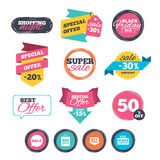 Sale speech bubble icons. Buy now arrow symbol. Sale stickers, online shopping. Sale speech bubble icons. Buy now arrow symbols. Black friday gift box signs Stock Images